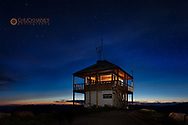 Dusk at Werner Peak Fire Lookout Tower on the  Stillwater State Forest, Montana, USA