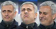 a composite image of the many faces of Jose Mourinho, the Chelsea manager as he sits in the dugout ahead of the game. UEFA Champions league group G match, Chelsea v Porto at Stamford Bridge in London on Wednesday 9th December 2015.<br /> pic by John Patrick Fletcher, Andrew Orchard sports photography.