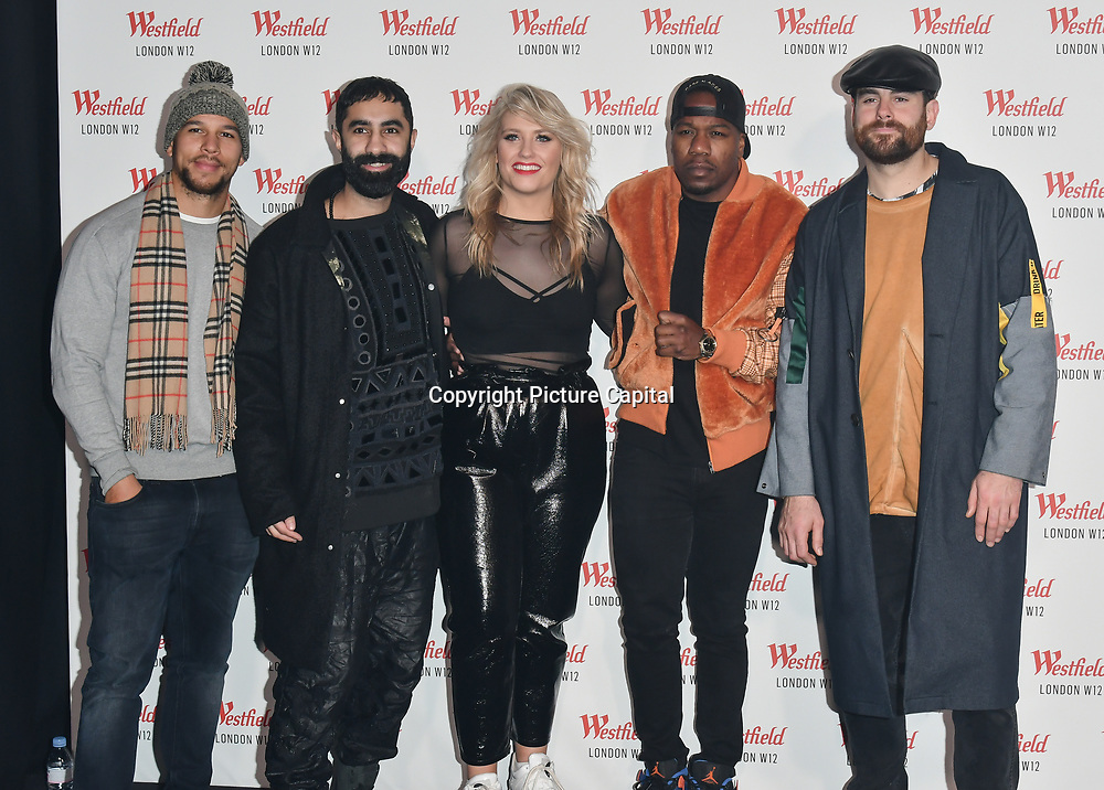 Ella Henderson and Rudimental prepare to take the stage at Westfield London 10th-year anniversary birthday celebrations on 30 October 2018, London, UK.
