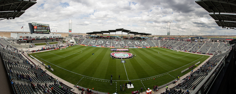 April 20th, 2013 Commerce City, CO - A composite panorama of Dick's Sporting Goods Park prior to the start of the MLS match between the Seattle Sounders FC and the Colorado Rapids Commerce City, CO