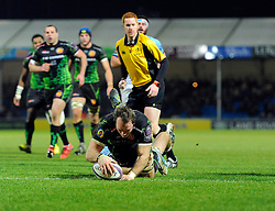 Exeter Chiefs' Openside Flanker, Kai Hortsmann breaks free to score a try  - Photo mandatory by-line: Joe Meredith/JMP - Mobile: 07966 386802 - 24/01/2015 - SPORT - Rugby - Exeter - Sandy Park Stadium - Exeter Chiefs v Bayonne - Challenge Cup Round 6