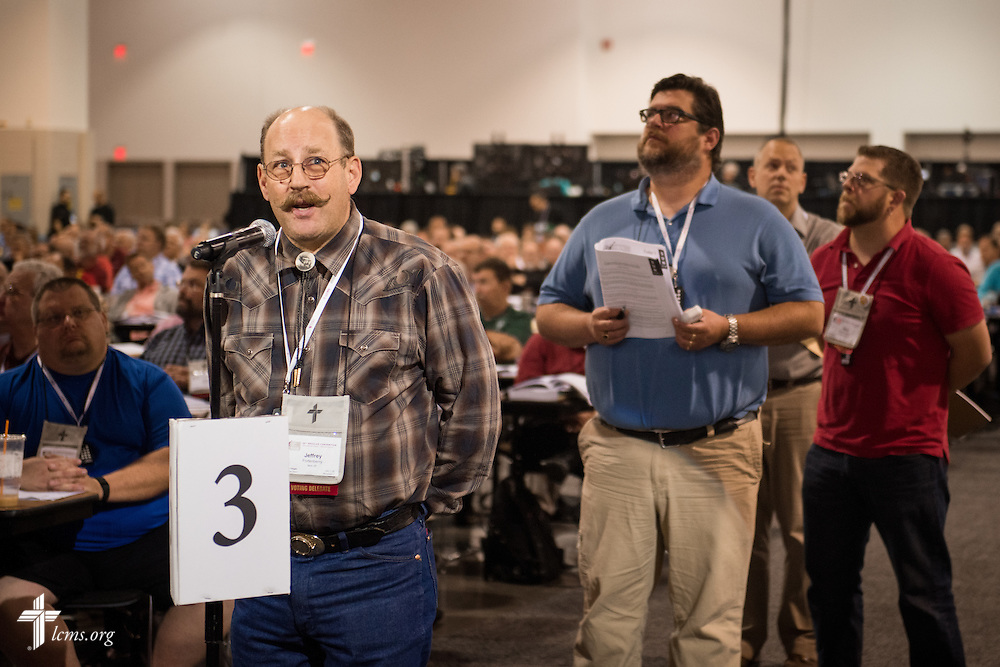 Voting delegate Jeffrey Fortenberry speaks Wednesday, July 13, 2016, at the 66th Regular Convention of The Lutheran Church–Missouri Synod, in Milwaukee. LCMS/Frank Kohn