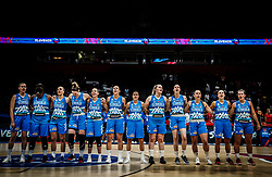 Players of Slovenia listening to the National anthem during basketball match between Women National teams of Belgium and Slovenia in the Qualification for the Quarter-Finals of Women's Eurobasket 2019, on July 2, 2019 in Belgrade Arena, Belgrade, Serbia. Photo by Vid Ponikvar / Sportida
