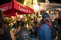 "Biketemberfest brought a crowd enjoying the open ""block party"" atmosphere at Weirs Beach Saturday night.  (Karen Bobotas/for the Laconia Daily Sun)"