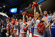 DAYTON, OH - MARCH 24: The Ohio State Buckeyes cheerleaders perform on the sideline in the first half against the Iowa State Cyclones during the third round of the 2013 NCAA Men's Basketball Tournament at UD Arena on March 24, 2013 in Dayton, Ohio. (Photo by Jason Miller/Getty Images)