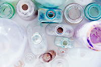 Colorful vintage bottles seen in an abstract way. Still Life Photography.