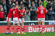 Barnsley Celebrates as Barnsley midfielder Alex Mowatt (27) scores a goal 1-0 during the EFL Sky Bet League 1 match between Barnsley and Scunthorpe United at Oakwell, Barnsley, England on 2 February 2019.