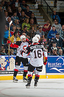 KELOWNA, CANADA - SEPTEMBER 28: The Prince George Cougars celebrate a second period goal Kelowna Rockets on September 28, 2016 at Prospera Place in Kelowna, British Columbia, Canada.  (Photo by Marissa Baecker/Shoot the Breeze)  *** Local Caption *** goal;