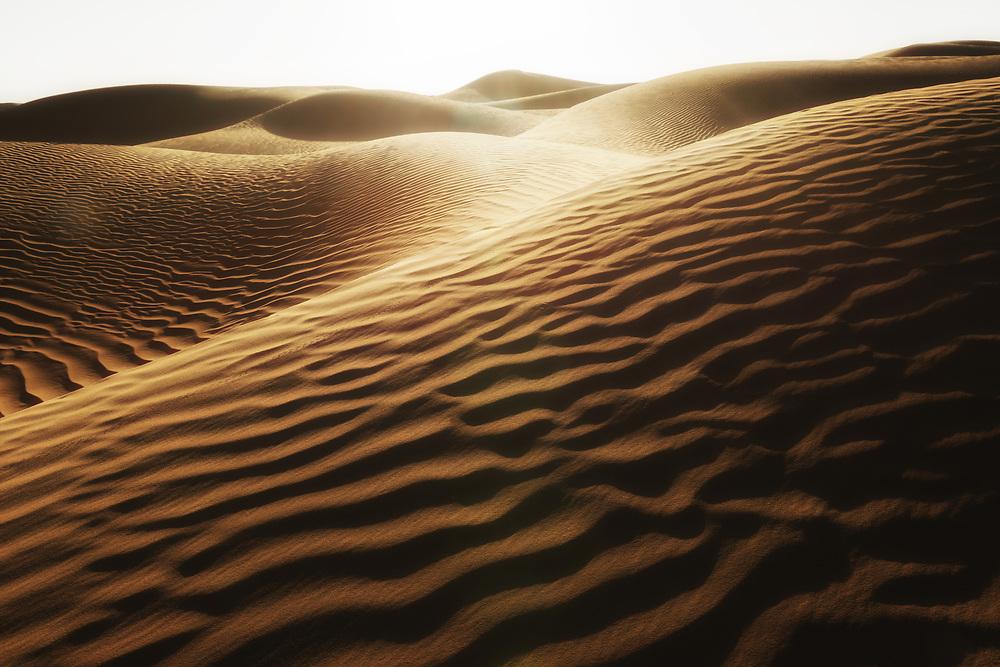 Desert sand dunes with dark shadows at sunset in the Sahara desert of Morocco.