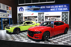 12 February 2015:  Mopar Garage display.  <br /> <br /> First staged in 1901, the Chicago Auto Show is the largest auto show in North America and has been held more times than any other auto exposition on the continent. The 2015 show marks the 107th edition of the Chicago Auto Show. It has been  presented by the Chicago Automobile Trade Association (CATA) since 1935.  It is held at McCormick Place, Chicago Illinois