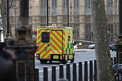 London, March 22nd 2017. An ambulance arrives on the scene in the aftermath of a shooting incident at Parliament and on Westminster Bridge, where several pedestrians were also mown down by a car.
