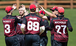 Canterbury players celebrate taking the wicket of Otago Volts' Hamish Rutherford in the Ford Trophy one-day domestic cricket match at the University of Otago Oval, Dunedin, New Zealand, Saturday, January 27, 2018. Credit:SNPA / Adam Binns ** NO ARCHIVING**