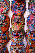 Colorful ceramic masks for sale in market, Nogales, Sonora, Mexico..©1990 Edward McCain. All rights reserved. McCain Photography, McCain Creative, Inc.