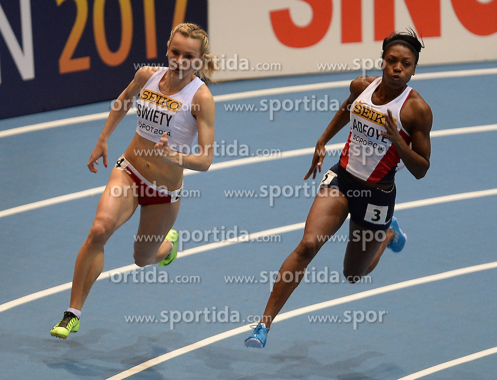 07.03.2014, Ergo Arena, Sopot, POL, IAAF, Leichtathletik Indoor WM, Sopot 2014, Tag 1, im Bild JUSTYNA SWIETY MARGARET ADEOYE // JUSTYNA SWIETY MARGARET ADEOYE during day one of IAAF World Indoor Championships Sopot 2014 at the Ergo Arena in Sopot, Poland on 2014/03/07. EXPA Pictures © 2014, PhotoCredit: EXPA/ Newspix/ Marek Biczyk<br /> <br /> *****ATTENTION - for AUT, SLO, CRO, SRB, BIH, MAZ, TUR, SUI, SWE only*****