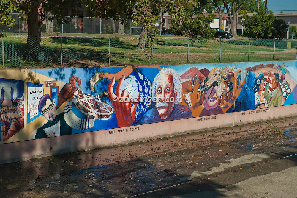 Albert Einstein, Great Wall Mural, Jewish Arts, and, Science, Valley Glen, Los Angeles, CA, San Fernando, Valley, Tujunga Wash, sub watershed, California