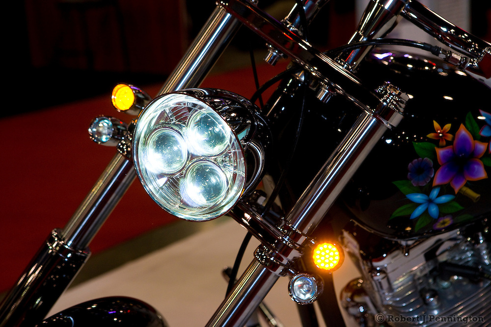 Adjurl LED headlights for motorcycles. SEMA 2009 in Las Vegas, Nevada.
