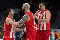 Crvena Zvezda Taylor Rochestie, Pero Antic; and Milko Bjelica during Turkish Airlines Euroleague match between Real Madrid and Crvena Zvezda at Wizink Center in Madrid, Spain. December 01, 2017. (ALTERPHOTOS/Borja B.Hojas)