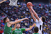 SAN DIEGO, CA - MARCH 18:  West Virginia Mountaineers forward Teddy Allen (13) grabs a rebound against Marshall Thundering Herd forward Ajdin Penava (11) during a second round game of the Men's NCAA Basketball Tournament at Viejas Arena in San Diego, California.  (Photo by Sam Wasson)
