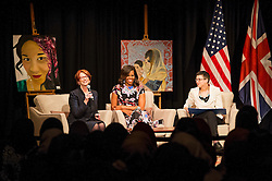 © Licensed to London News Pictures. 16/06/2015. London, UK. L to R First lady MICHELLE OBAMA, former prime minister of Australia JULIAN GILLARD and head teacher at Mulberry School Dr VANESSA OGDEN take part in a questions and answers session   during a visit to Mulbery School For Girls in east London. Photo credit: Ben Cawthra/LNP