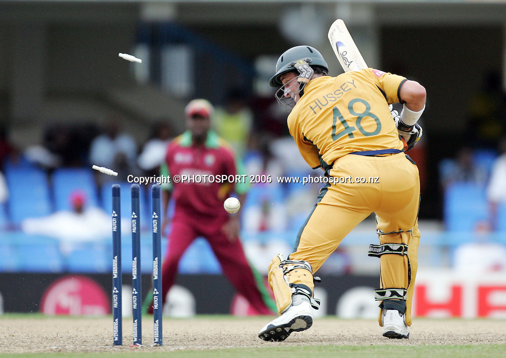 Australian batsman Michael Hussey is clean bowled for 9 at the Super 8 Cricket World Cup match, West Indies vs Australia at the Sir Vivian Richards Cricket Ground in Antigua, West Indies on Tuesday 27 March 2007. Australia batted first and scored 322 for 6. Photo: Andrew Cornaga/PHOTOSPORT<br />