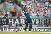 England Wicketkeeper Jos Buttler hits four runs to bring the 200 up during the Royal London One Day International match between England and New Zealand at the Oval, London, United Kingdom on 12 June 2015. Photo by Phil Duncan.
