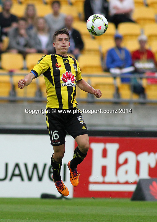 Phoenix Louis Fenton controls a high ball during the A-League football match between the Wellington Phoenix & Western Sydney Wanderers at Westpac Stadium, Wellington, 28 December 2014. Photo.: Grant Down / www.photosport.co.nz