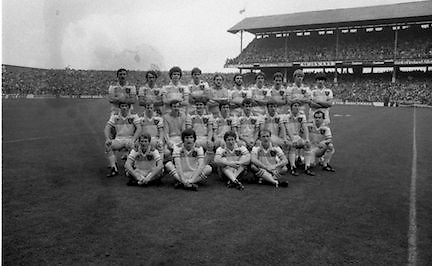 The All Ireland Senior Football Final.1982.19.09.1982.09.19.1982.19th September 1982..The senior final was contested between Offaly and Kerry. Offaly won the title by the narrowest of margins 1.15 to 17 points..The Offaly starting fifteen  and the substitutes pose for pictures before the match.