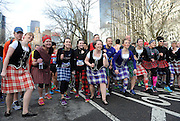 Runners and dancers kick-off the 12th annual Scotland Run in New York's Central Park to celebrate Scotland Week festivities, Saturday, April 4, 2015.  (Photo by Diane Bondareff/Invision for Scottish Government/AP Images)