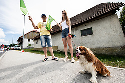 Supportes with their dog during 1st Stage of 26th Tour of Slovenia 2019 cycling race between Ljubljana and Rogaska Slatina (171 km), on June 19, 2019 in  Slovenia. Photo by Vid Ponikvar / Sportida