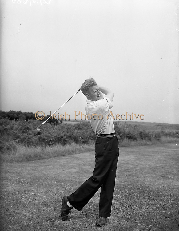 23/06/1959<br /> 06/23/1959<br /> 23 June 1959 <br /> Irish Amateur Close Golf Championships at Portmarnock, Dublin. I.A. Nesbitt, (Malone Golf Club) driving off the 10th tee during his third round match against M. Craddock (Malahide).