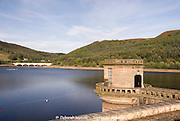 Ladybower Reservoir west draw off tower from the dam head wall path, Peak District, Derbyshire, UK