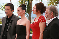 Nuri Bilge Ceylan, Melisa Sözen, Demet Akbağ and Haluk Bilginer at the photocall for the film Winter Sleep (Palme d'Or winner) at the 67th Cannes Film Festival, Friday 16th May 2014, Cannes, France