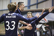 Jim McAlister celebrates after scoring Dundee's second goal  - Raith Rovers v Dundee,  SPFL Championship at Starks Park<br /> <br />  - &copy; David Young - www.davidyoungphoto.co.uk - email: davidyoungphoto@gmail.com