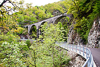 Ticino, Southern Switzerland. Swiss railway viaduct in the Centovalle.