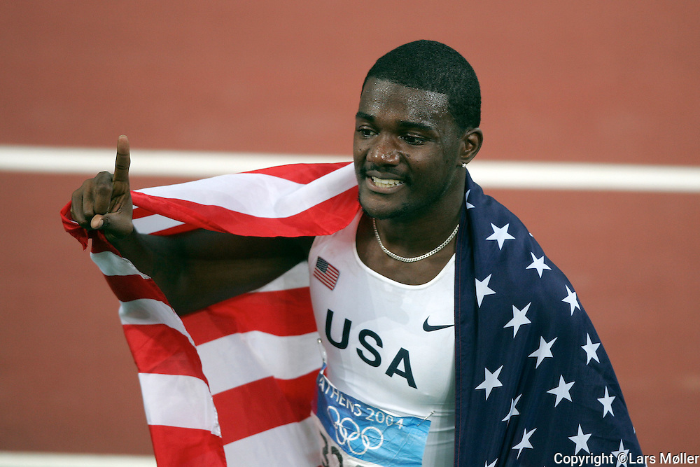 DK Caption: <br /> 20040825, Athen, Gr&aelig;kenland:  Athen 2004 Olympic Games / Olympiske Lege. 100 meter finale for m&aelig;nd. Justin Gatlin (USA) vinder<br /> Foto: Lars M&oslash;ller<br /> UK Caption: <br /> 20040825, Athens, Greece:  Athens 2004 Olympic Games / Olympiske Lege.100 meter final for men. Justin Gatlin (USA) win<br /> Photo: Lars Moeller