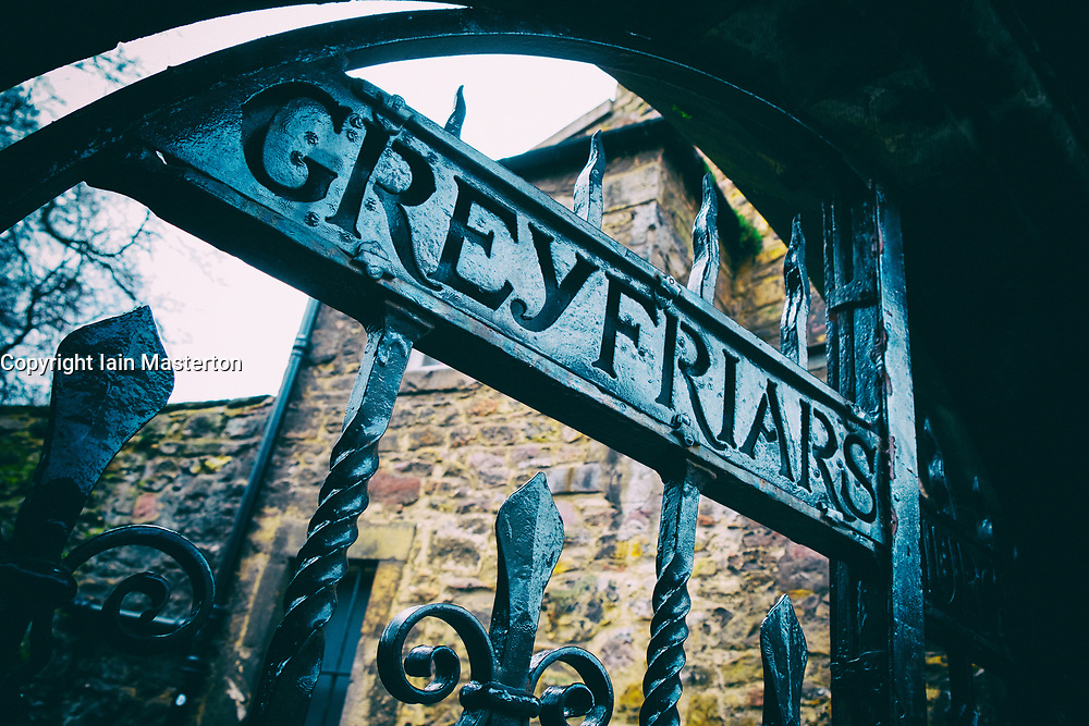 Detail of old gates at entrance to Greyfriars Cemetery in Old Town of Edinburgh, Scotland, United Kingdom
