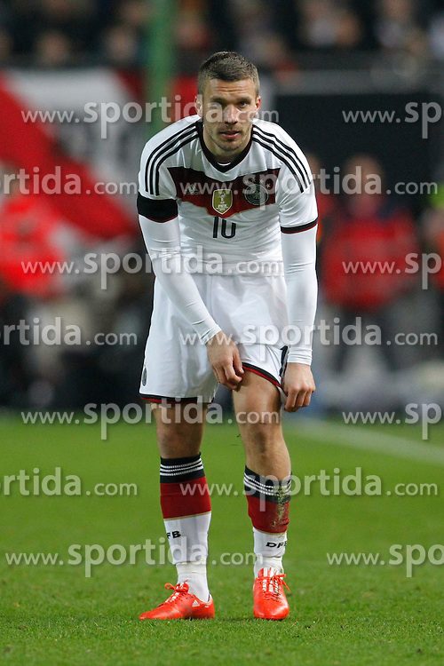 25.03.2015, Fritz Walter Stadion, Kaiserslautern, GER, FS Vorbereitung, Deutschland vs Australien, DFB L&auml;nderspiel, im Bild Lukas Podolski (Inter Mailand) // during the international friendly football macht between Germany and Australia at the Fritz Walter Stadion in Kaiserslautern, Germany on 2015/03/25. EXPA Pictures &copy; 2015, PhotoCredit: EXPA/ Eibner-Pressefoto/ Schueler<br /> <br /> *****ATTENTION - OUT of GER*****