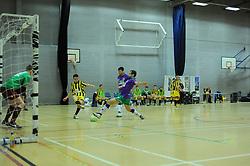 BCFC Futsal attempt a shot against Gloucestershire Futsals keeper- Photo mandatory by-line: Nizaam Jones - Mobile: 07966 386802 - 08/02/2015 - SPORT - Football - Gloucestershire - GL1 Leisure Centre - Gloucestershire Futsal v BCFC Futsal - Futsal
