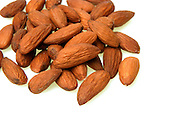 Almonds on white background - studio shot