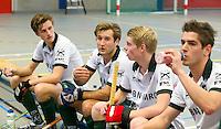 ARNHEM - Turkstra, Hertzberger (W) , Bakker . De mannen van Rotterdam tijdens de eerste dag van de zaalhockey competitie in de hoofdklasse, seizoen 2013/2014. COPYRIGHT KOEN SUYK