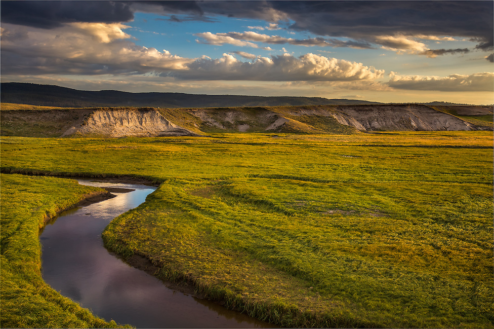 Lush meadows and meandering waterways abound in the beautiful Hayden Valley, one of the best locations to view wildlife in Yellowstone National Park, WY