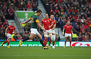 South Africa's Handre Pollard kicking off the quarter finals during the Rugby World Cup Quarter Final match between South Africa and Wales at Twickenham, Richmond, United Kingdom on 17 October 2015. Photo by Matthew Redman.