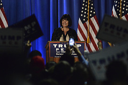 Karen Pence gives an introduction to Melanie Trump during a rally in Chester County, on Thursday.