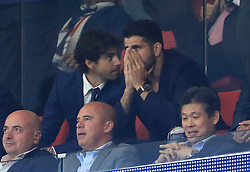 Atletico Madrid's new signing Diego Costa (right) looks relieved after his side score the first goal of the game