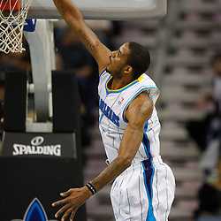 January 5, 2011; New Orleans, LA, USA; New Orleans Hornets small forward Trevor Ariza (1) dunks against the Golden State Warriors during the second half at the New Orleans Arena. The Warriors defeated the Hornets 110-103.  Mandatory Credit: Derick E. Hingle