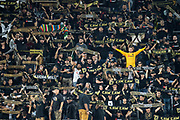 General overall view as LAFC fans of the 3252 supporter section hold up their scarves during a MLS soccer game, Saturday, Sept 25, 2019, in Los Angeles. (Jon Endow/Image of Sport)