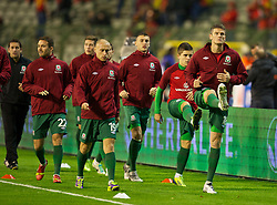 BRUSSELS, BELGIUM - Tuesday, October 15, 2013: Wales' Owain Tudur Jones warms-up before the 2014 FIFA World Cup Brazil Qualifying Group A match against Belgium at the Koning Boudewijnstadion. (Pic by David Rawcliffe/Propaganda)