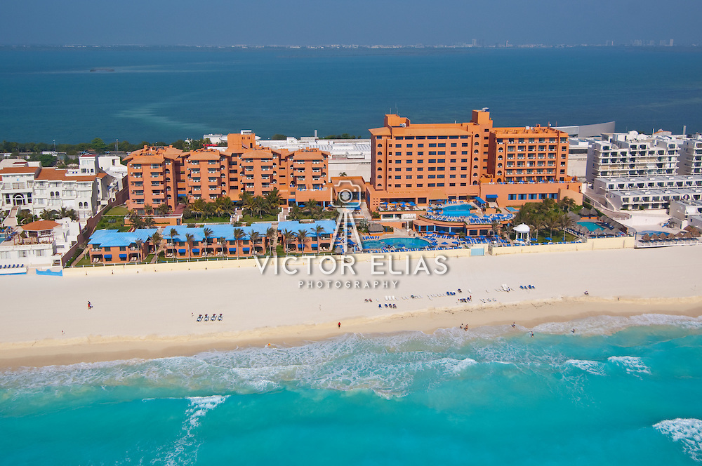 Aerial View of the Barceló Cancun Hotel.<br /> Cancun, Quintana Roo. Mexico