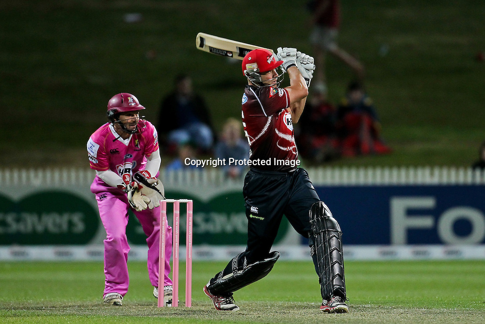 Canterbury Wizard's captain Peter Fulton in action during his innings of 33 during the HRV Cup - Northern Knights v Canterbury Wizards, Seddon Park, Hamilton.  30 November 2012.  Photo:  Bruce Lim / photosport.co.nz