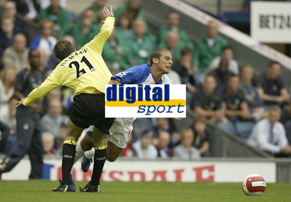 Photo: Aidan Ellis.<br /> Blackburn Rovers v Manchester City. The Barclays Premiership. 17/09/2006.<br /> City's Dietmar Hamann fouls Rovers Daviod Bentley